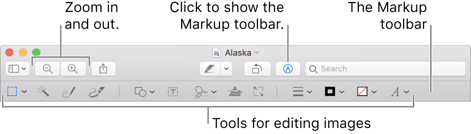 The Markup toolbar for editing images.