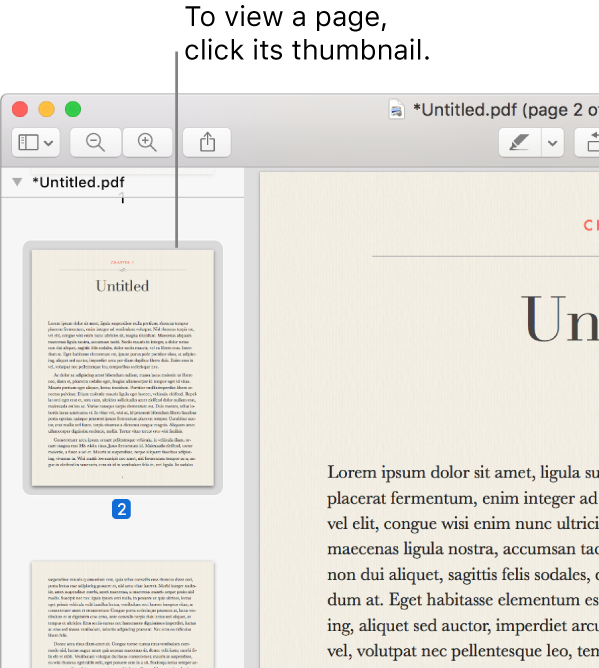 A PDF with thumbnails displayed in the sidebar.