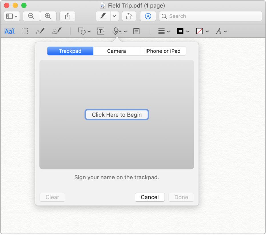 「預覽程式」中的簽名工具。