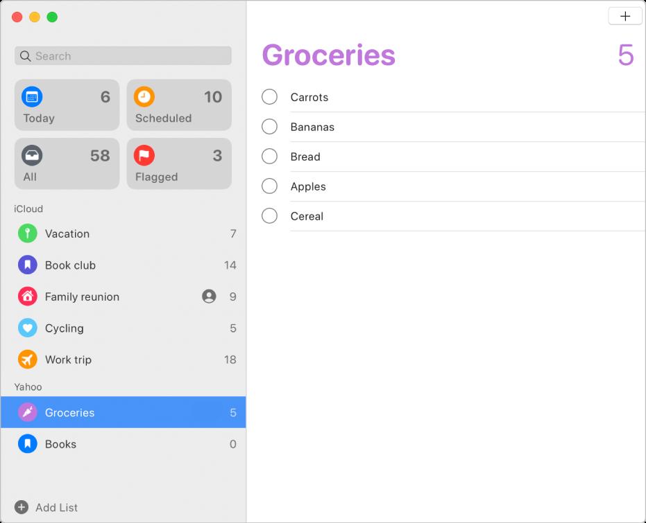 「提醒事項」視窗,顯示 iCloud 和 Yahoo 帳號的提醒事項。