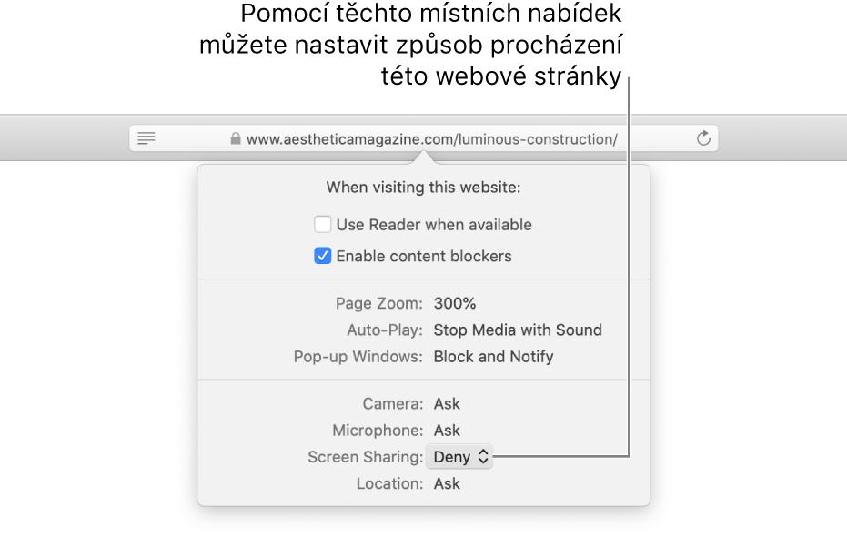 Dialogové okno, které se objeví pod dynamickým vyhledávacím polem, když použijete příkaz Safari > Nastavení pro tuto webovou stránku. Volby obsažené vtomto dialogovém okně vám umožňují přizpůsobit způsob procházení aktuálního webového serveru, nastavit použití čtečky, zapnout blokátory obsahu azměnit další parametry.