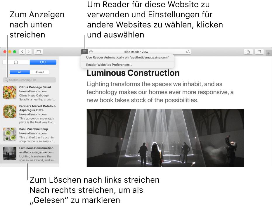Safari-Fenster mit angezeigter Leseliste.