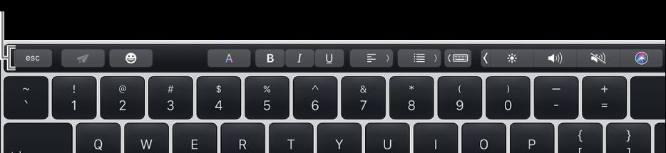 Το Touch Bar στο πάνω μέρος του πληκτρολογίου.