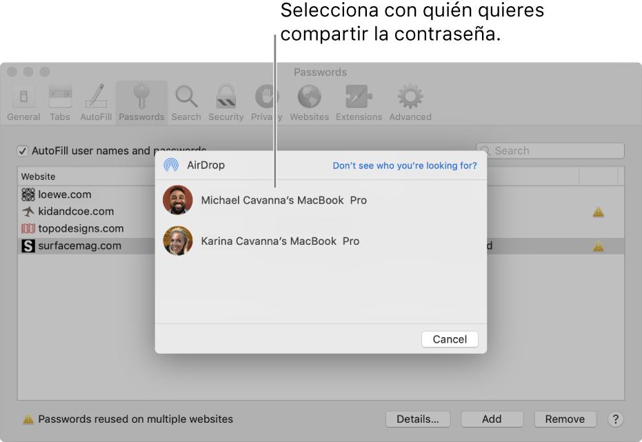 Panel de preferencias Contraseña, con la ventana AirDrop y una lista de dispositivos.