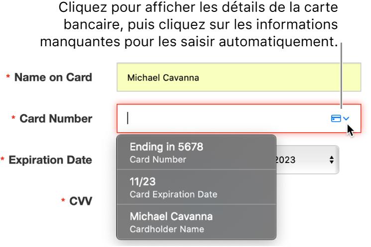 Informations de carte bancaire avec un détail manquant, avec le remplissage automatique affichant les choix disponibles.