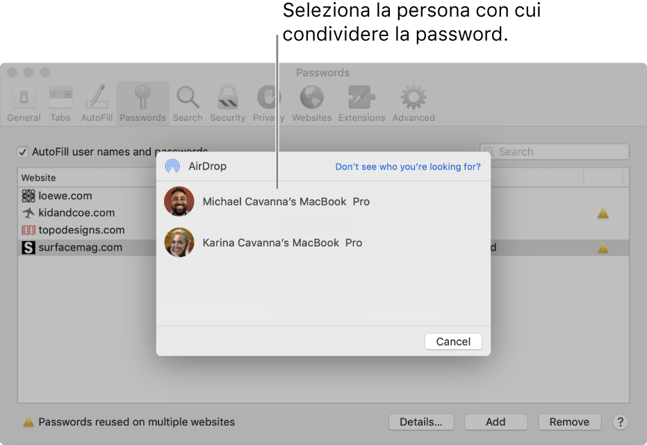 Le preferenze Password, che mostrano una finestra di AirDrop e un elenco di dispositivi.