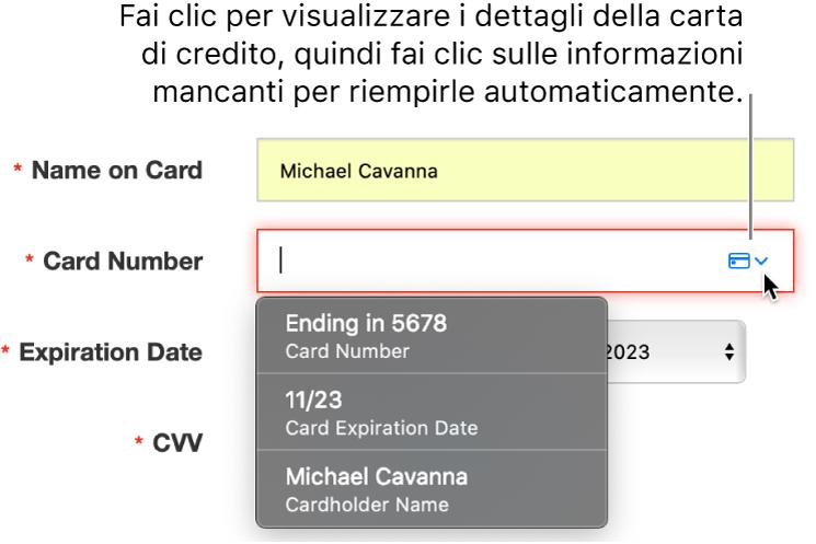Informazioni della carta di credito in cui manca un dettaglio, con il riempimento automatico che mostra le scelte disponibili.