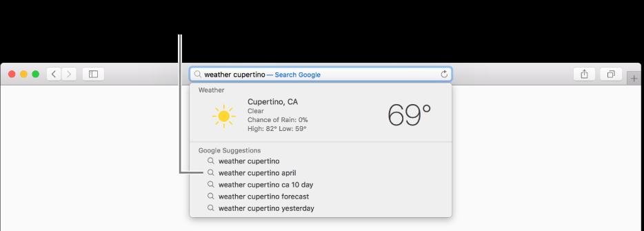 """La frase di ricerca """"meteo cupertino"""" inserita nel campo di ricerca smart e i risultati dei suggerimenti Safari."""