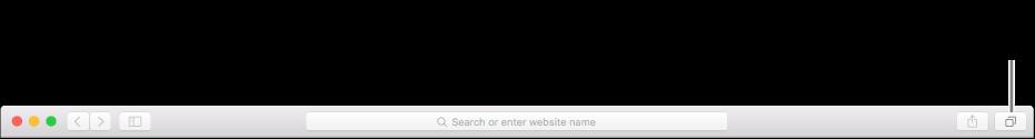 「すべてのタブを表示」ボタンが表示されているツールバー。