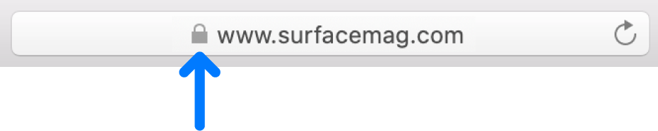 標準的な証明書のあるサイトの暗号化アイコン(カギのようなアイコン)。