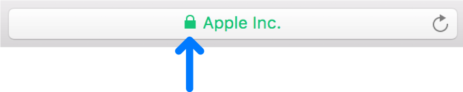 Het encryptiesymbool (het hangslot) voor een site met een certificaat voor uitgebreide validatie.