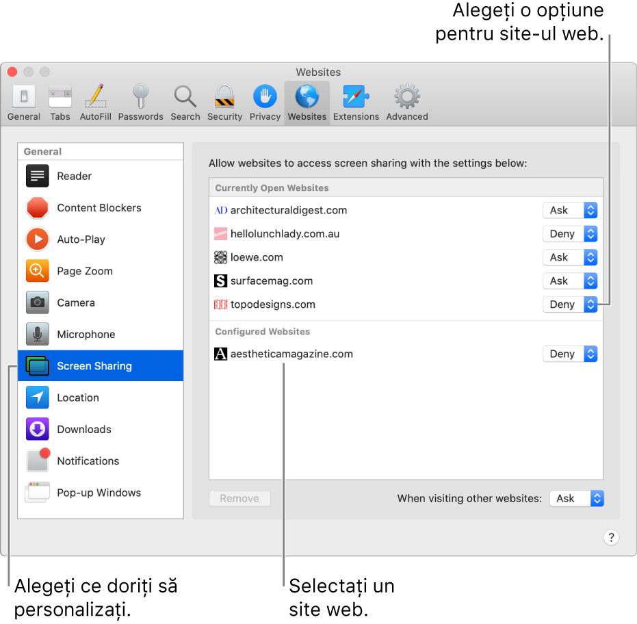 Panoul Site-uri web din preferințele Safari, unde puteți personaliza modul de navigare în site-urile web individuale.