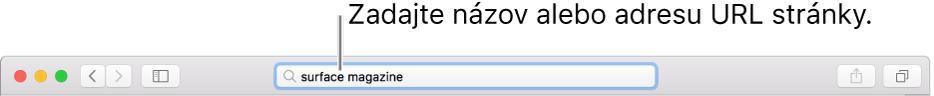 Pole dynamického vyhľadávania vSafari, do ktorého môžete zadať názov alebo URL adresu stránky.