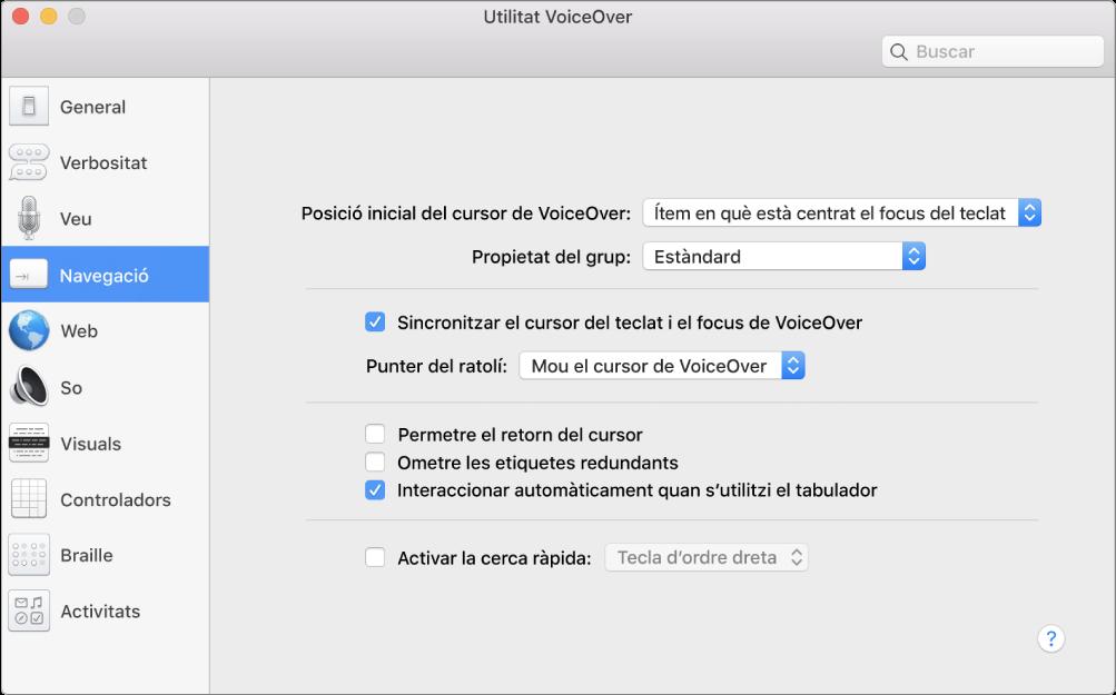 Finestra de la Utilitat VoiceOver que mostra la categoria Navegació seleccionada a la barra lateral de l'esquerra i les opcions corresponents a la dreta. A l'angle inferior dret de la finestra hi ha un botó Ajuda per mostrar l'ajuda en línia de VoiceOver sobre les opcions.