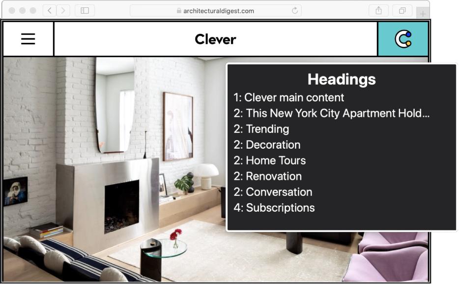 """Eine Safari-Webseite unter dem VoiceOver-Cursor und die auf """"Überschriften"""" eingestellte VoiceOver-Liste."""
