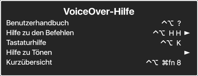 Das VoiceOver-Hilfemenü ist ein Bereich mit den folgenden Optionen – von oben nach unten: Online-Hilfe, Hilfe zu Befehlen, Tastaturhilfe, Hilfe zu Tönen, Kurzübersicht und Einführungshandbuch. Rechts neben jedem Objekt befindet sich der VoiceOver-Befehl, der das Objekt anzeigt, bzw. ein Pfeil, der zu einem Untermenü führt.