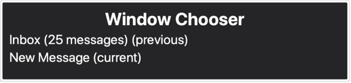 The Window Chooser is a panel that shows a list of currently open windows.