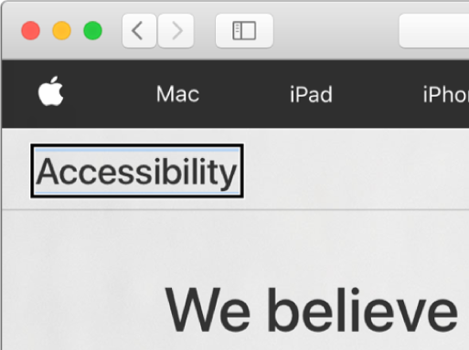 "The VoiceOver cursor—a dark rectangular outline—focused on the word ""Accessibility"" on screen."