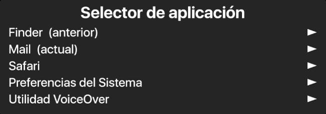 Selector de aplicación es un panel que muestra las aplicaciones actualmente abiertas. A la derecha de cada elemento en la lista hay una flecha.