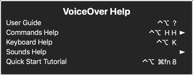 El menú Ayuda de VoiceOver es un panel que incluye lo siguiente, de forma descendiente: Ayuda en Internet, Ayuda sobre Comandos, Ayuda de teclado, Ayuda sobre sonidos, Tutorial de inicio rápido y Manual de introducción. A la derecha de cada elemento se encuentra el comando de VoiceOver que muestra el elemento, o una flecha para acceder al submenú.