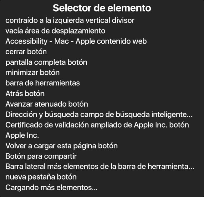 El selector de elementos es un panel que muestra una lista de elementos como un área de desplazamiento vacía, el botón para cerrar, la barra de herramientas, el botón para compartir, etc.