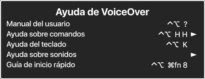 """El menú Ayuda de VoiceOver es un panel que muestra, de arriba a abajo: """"Ayuda en Internet"""", """"Ayuda sobre comandos"""", """"Ayuda sobre el teclado"""", """"Ayuda sobre sonidos"""", """"Guía de inicio rápido"""" y """"Guía de introducción"""". A la derecha de cada ítem se indica el comando de VoiceOver que muestra el ítem o una flecha para acceder a un submenú."""