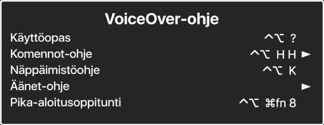 VoiceOver-ohjevalikko on paneeli, jossa on luetteloituina ylhäältä alas: Verkko-ohje, Komennot-ohje, Näppäimistö-ohje, Äänet-ohje, Pika-aloitusoppitunti ja Käyttöönotto-opas. Kunkin kohteen oikealla puolella on VoiceOver-komento, joka näyttää kohteen, tai nuoli, jolla pääset alavalikkoon.