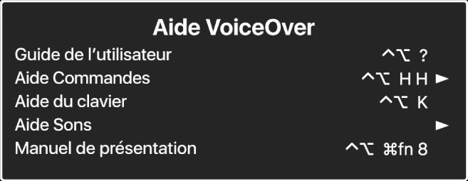Le menu Aide de VoiceOver est une sous-fenêtre qui répertorie les éléments suivants, de haut en bas: Aide en ligne, Aide Commandes, Aide du clavier, Aide Sons, Manuel de présentation et Guide Premiers contacts. À droite de chaque élément se trouve la commande VoiceOver qui affiche l'élément ou une flèche pour accéder à un sous-menu.
