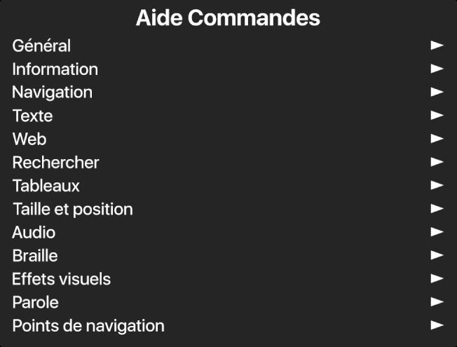 Le menu Aide Commandes est une sous-fenêtre qui répertorie des catégories de commandes, commençant par Général et se terminant par Points de navigation. Une flèche apparaît à droite de chaque élément de la liste pour accéder à son sous-menu.
