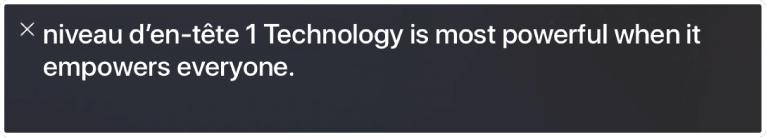 Le panneau Légende affiche l'élément que VoiceOver lit actuellement.