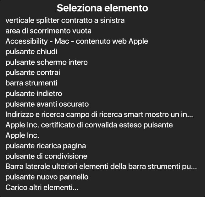 """""""Selezione elemento"""" è un pannello che contiene un elenco di elementi, quali un'area di scorrimento vuota, il pulsante di chiusura, la barra degli strumenti e il pulsante Condividi e molti altri."""