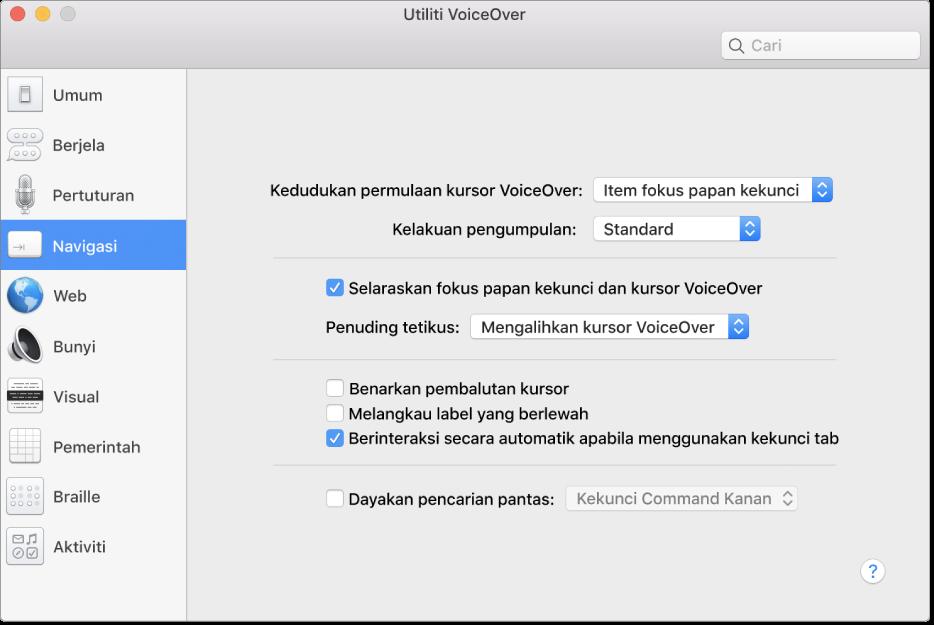 Tetingkap Utiliti VoiceOver menunjukkan kategori Navigasi dipilih dalam bar sisi pada sebelah kiri dan pilihan di sebelah kanan. Di penjuru kanan bawah tetingkap adalah butang Bantuan untuk memaparkan bantuan dalam talian tentang pilihan VoiceOver.