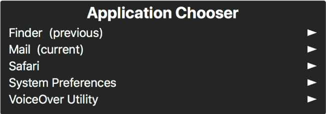 Pemilih Aplikasi dalah panel yang menunjukkan aplikasi yang sedang dibuka. Di sebelah kanan setiap item dalam senarai adalah anak panah.