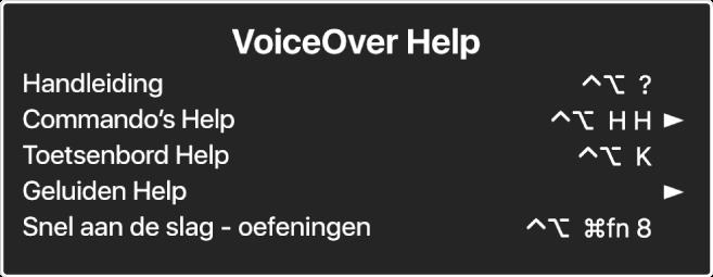 Het Help-menu van VoiceOver is een paneel waarop je van boven naar beneden ziet staan: 'Online Help', 'Commando's Help', 'Toetsenbord Help', 'Geluiden Help', 'Snel aan de slag - oefeningen', 'Aan de slag-handleiding'. Achter elk onderdeel staat het VoiceOver-commando waarmee je het onderdeel kunt weergeven of een pijl waarmee je een submenu kunt openen.