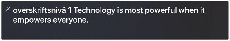 Tekstpanelet viser hva VoiceOver leser opp.