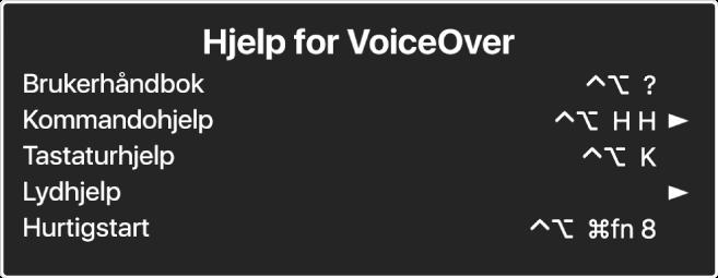 VoiceOver-hjelpmenyen er et panel som viser en liste over, fra øverst til nederst: Internettbasert hjelp, Kommandohjelp, Tastaturhjelp, Lydhjelp, Hurtigstartopplæring og Komme i gang-håndbok. Til høyre for hvert objekt vises VoiceOver-kommandoen som viser objektet, eller en pil som gir tilgang til en undermeny.