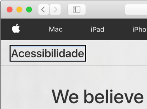 """O cursor do VoiceOver (um contorno retangular escuro) com foco na palavra """"Acessibilidade"""" na tela."""