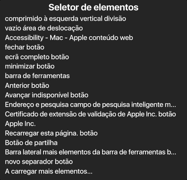 O seletor de elementos é um painel que apresenta uma lista de elementos, como a área de deslocação vazia, o botão de fechar, a barra de ferramentas, o botão de partilha, entre outros.
