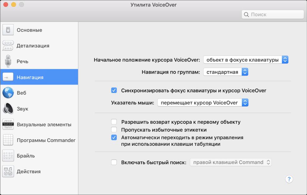 Окно программы «Утилита VoiceOver». В боковом меню слева выбрана категория «Навигация», справа отображаются ее параметры. В правом нижнем углу окна находится кнопка «Справка», которая отображает онлайн-справку VoiceOver с описанием параметров.