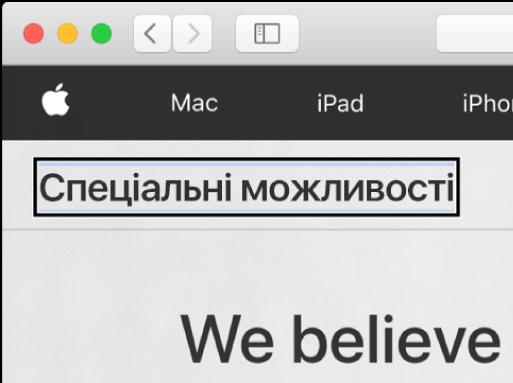 Курсор VoiceOver, — темна прямокутна рамка, — з фокусом на словах «Спеціальні можливості» на екрані.