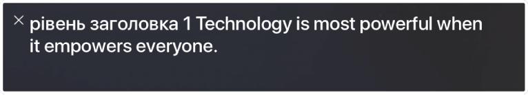 Панель текстового супроводу демонструє, що промовляє в даний момент VoiceOver.