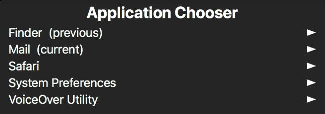 Bộ chọn ứng dụng là một bảng hiển thị các ứng dụng hiện đang được mở. Ở bên phải của từng mục trong danh sách là một mũi tên.
