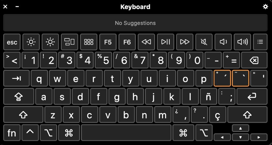 عارض لوحة المفاتيح مع مخطط اللغة الإسبانية.