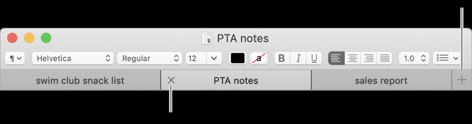 Una finestra del TextEdit amb tres pestanyes a la barra de pestanyes, situada a sota de la barra de format. Una de les pestanyes té un botó Tancar. El botó Afegir es troba a l'extrem dret de la barra de pestanyes.