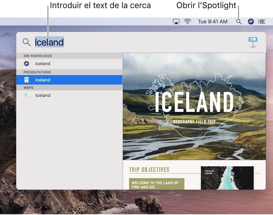 El menú de l'Spotlight, amb un exemple d'una cerca i els seus resultats.