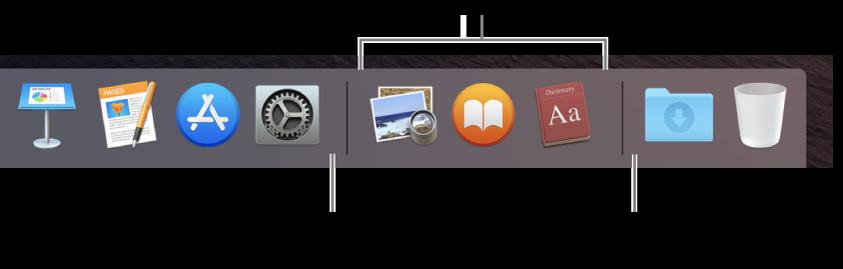 Højre ende af Dock. Tilføj programmer til venstre for området med de senest brugte programmer, og tilføj mapper til højre for området, hvor stakken Overførsler og papirkurven er placeret.