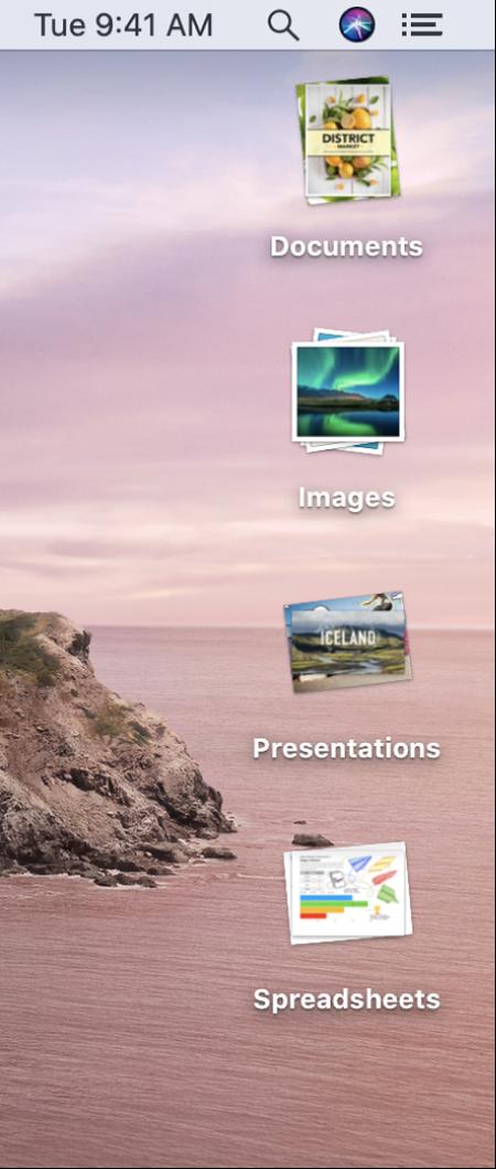 Skrivebordet på en Mac med fire stakke – til dokumenter, billeder, præsentationer og regneark – langs skærmens højre kant.