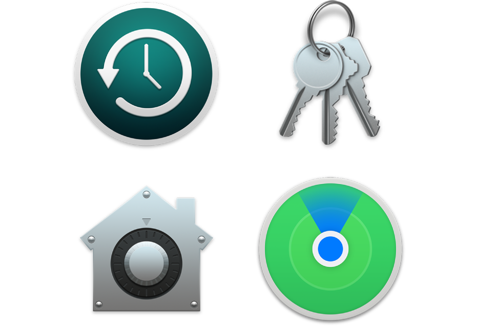 Symbole für Sicherheitsfunktionen, die helfen, deine Daten und deinen Mac zu schützen