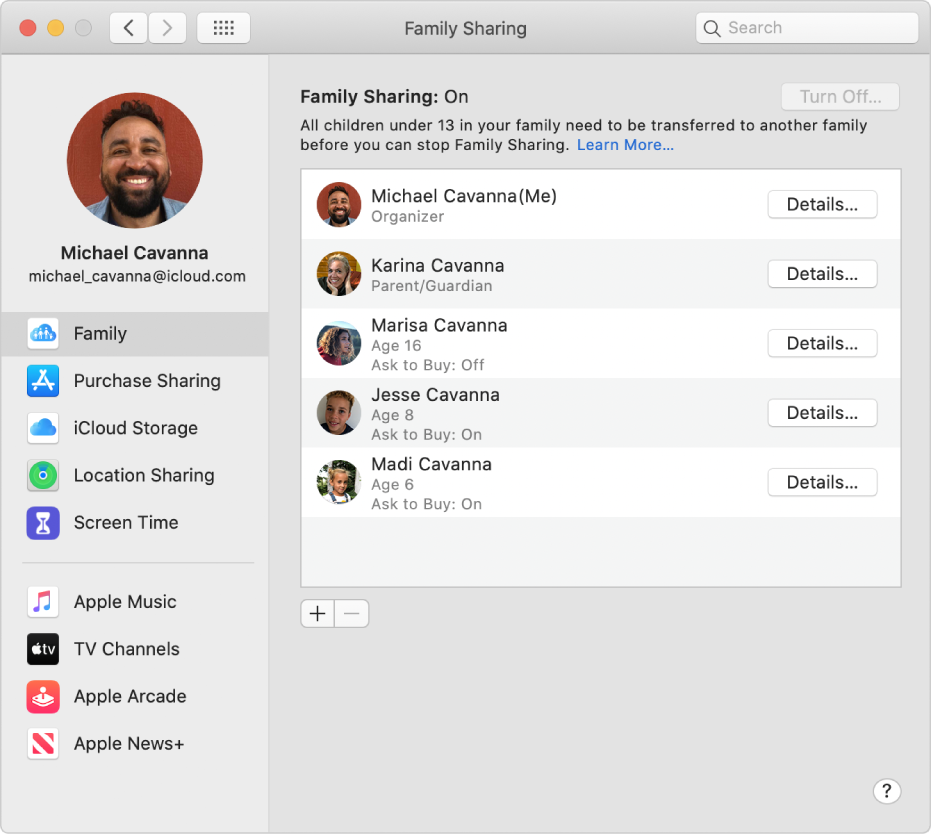 Family Sharing preferences showing different account options in the sidebar, and on the right, family members and their details.