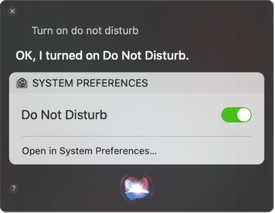 """The Siri window showing a request to complete the task, """"Turn on do not disturb""""."""
